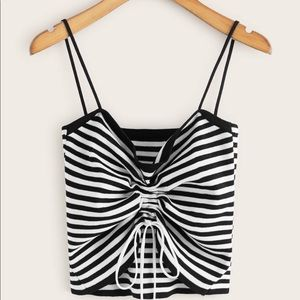 Striped tie crop top